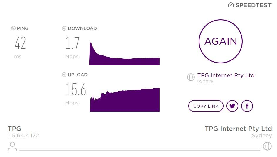 Speed test tonight using TPGs own Speed Test. I am supposed to be getting 44.5MPBS on NBN50 plan. Horrid
