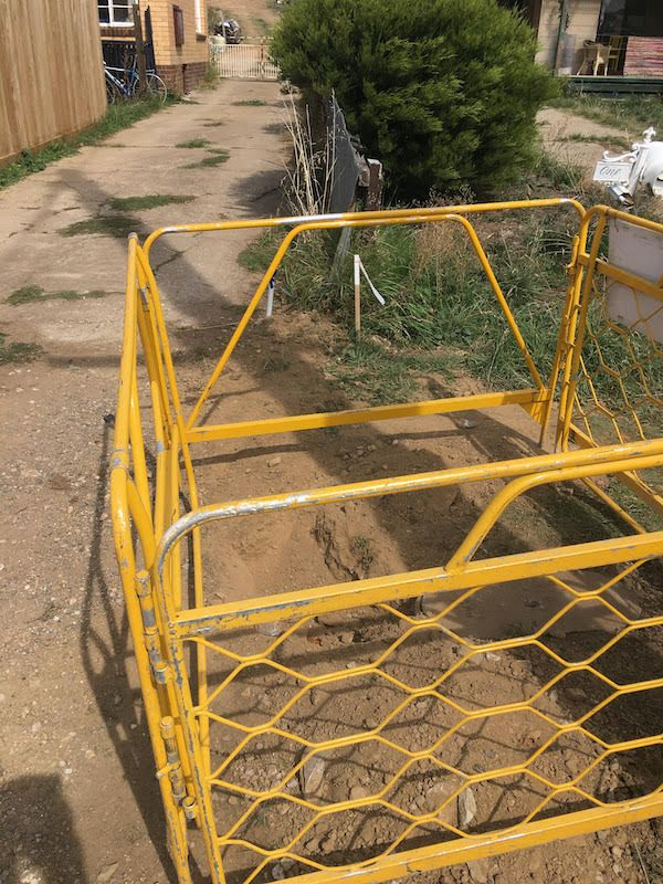 Photo 5 - view to our property - after cutting the cable yesterday, the unidentified and unmarked technicians then dug a trench to our property boundary following the direction of our copper line.