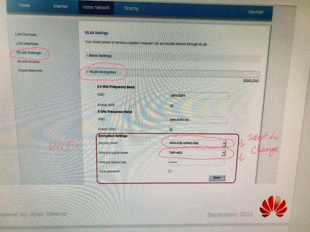 HG659 WiFi Security Settings