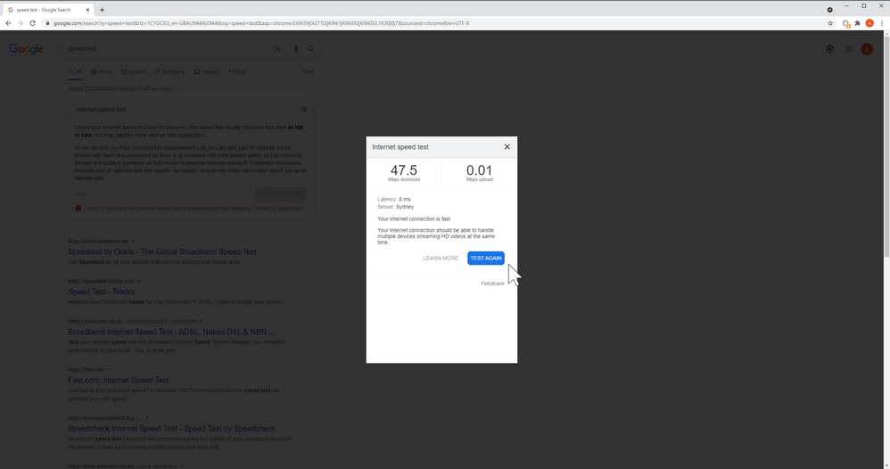 Extremely Slow Upload Test Results