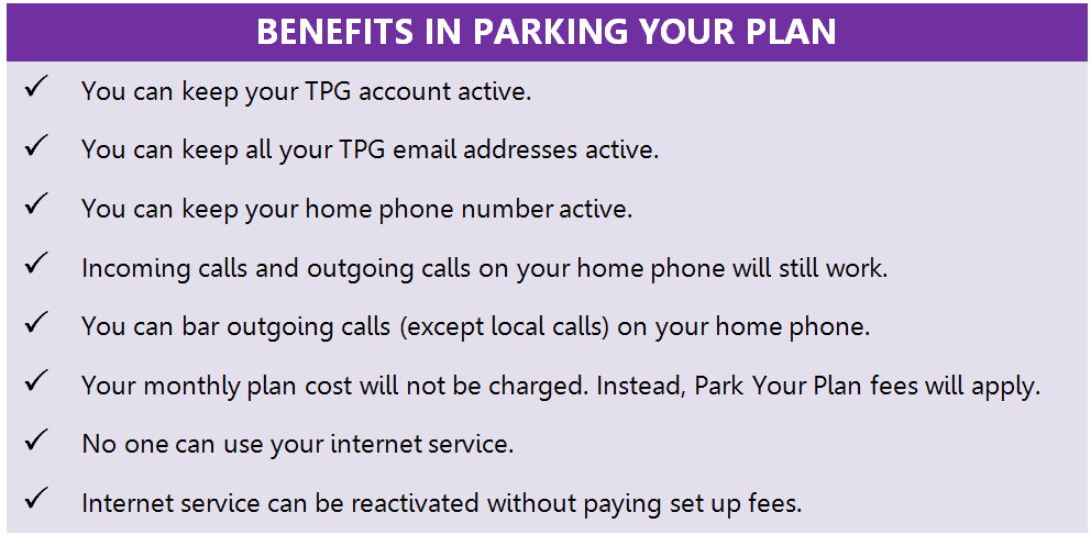 How to park or temporarily suspend your internet plan - TPG
