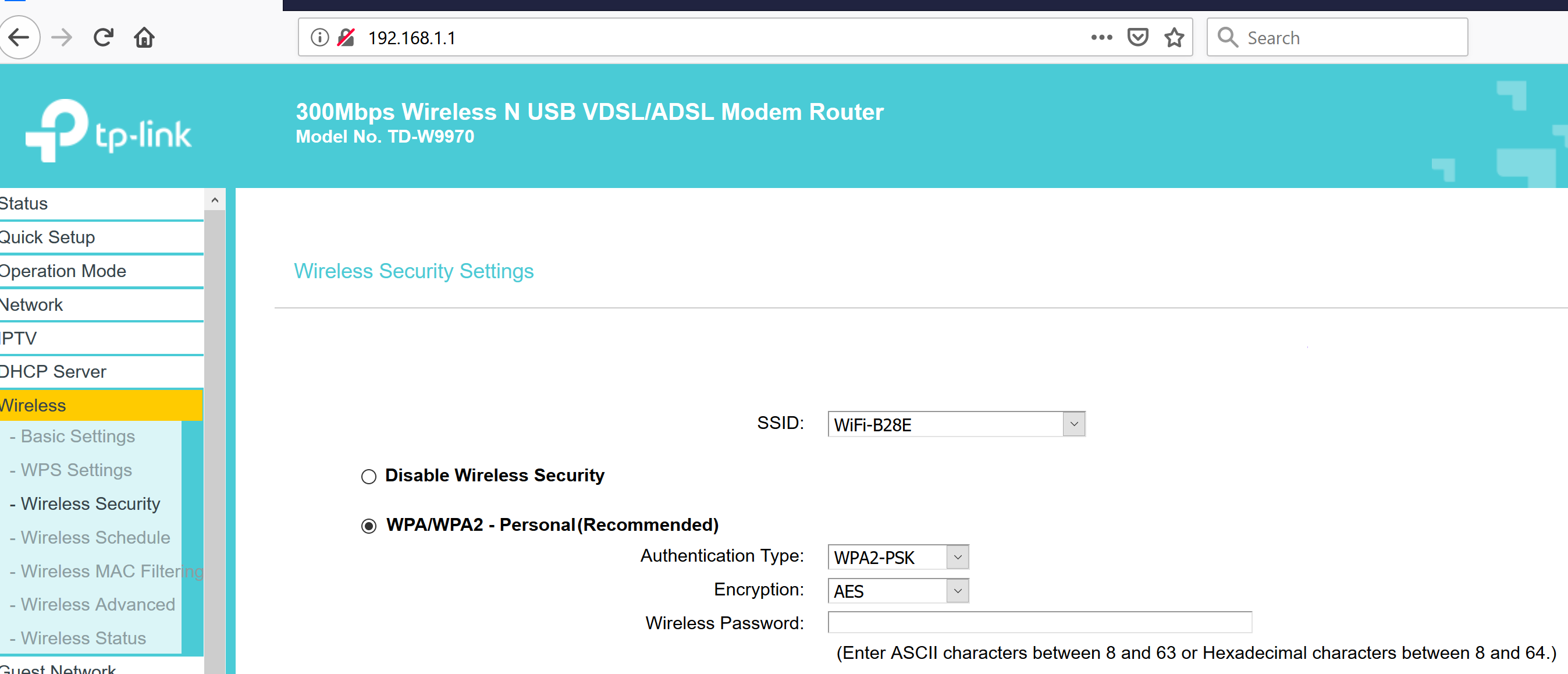 Router Security Page