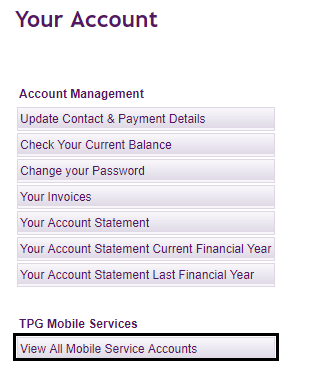 TPG My Account - Checking your calls and usage online - TPG
