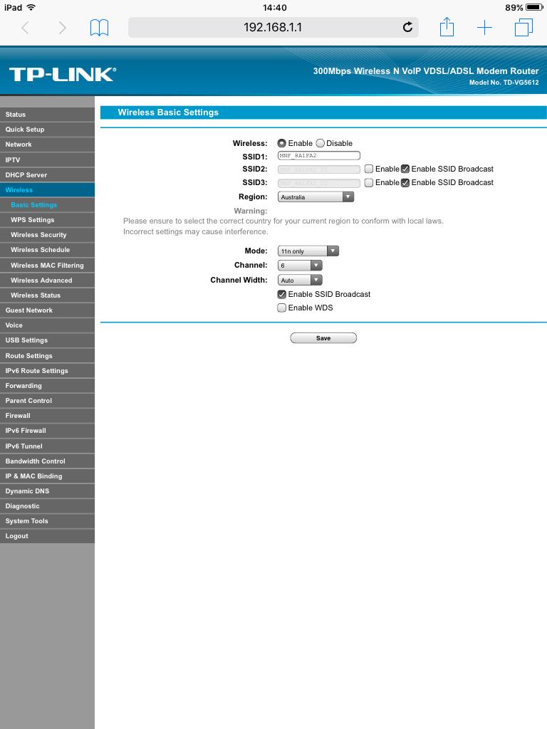 Enabling WDS on VR1600V - TPG Community